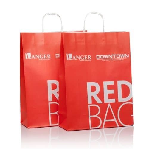 Papiertaschen basic (Papiertüten) in red für Langer von CREATEAM PROMOTION