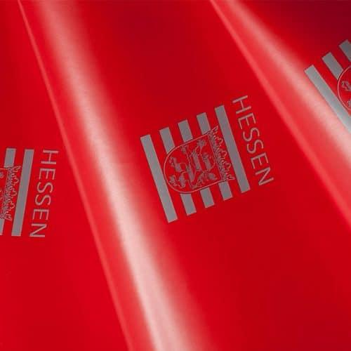 Knallrotes Geschenkpapier mit Hessen CI kreiiert von CREATEAM PROMOTION