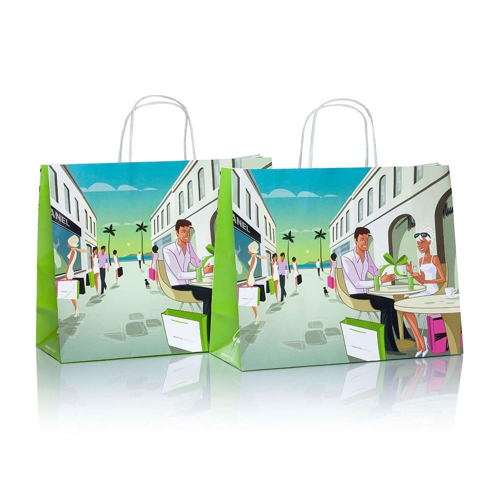 Papiertaschen (Papiertüten) in individuellem Design mit CREATEAM PROMOTION CI als Papiertaschen basic