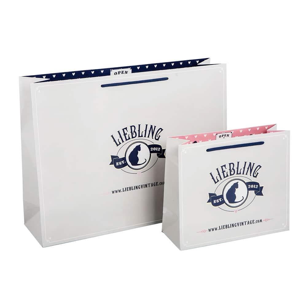 Liebling Papiertaschen (Papiertüten) veredelt mit individuellem Design hergestellt von CREATEAM PROMOTION